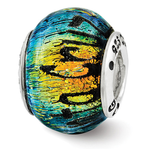 Sterling Silver Reflections Santa Cruz Orange Dichroic Glass Bead