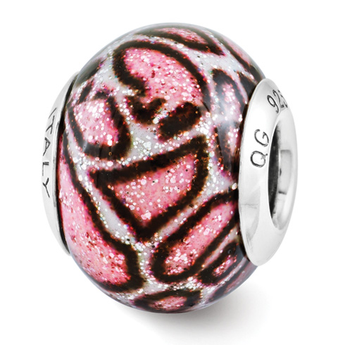 Sterling Silver Reflection Pink Print Overlay Italian Bead