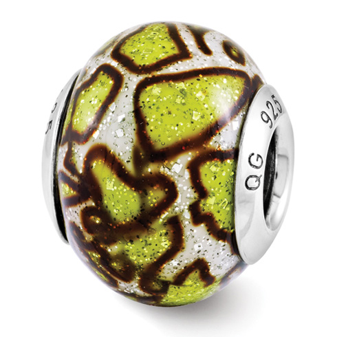 Sterling Silver Reflection Yellow Print Overlay Italian Bead