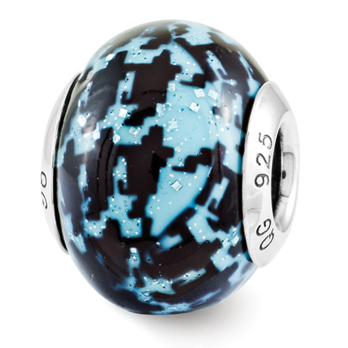 Sterling Silver Reflection Blue & Black Overlay Italian Bead