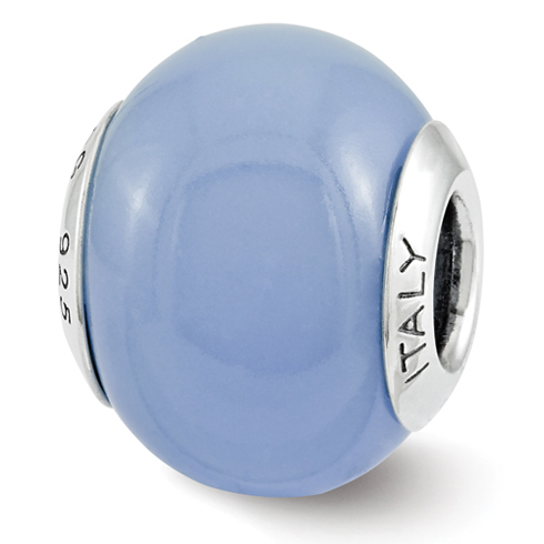 Sterling Silver Reflection Blue Glow-in-the-Dark Italian Bead