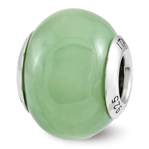 Sterling Silver Reflection Green Glow-in-the-Dark Italian Bead