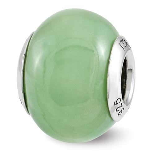 Sterling Silver Reflection Green Glow-in-the-Dark Italian Bead