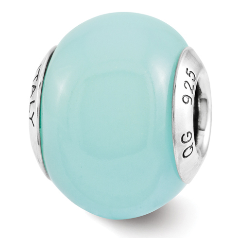 Sterling Silver Reflection Teal Glow-in-the-Dark Italian Bead