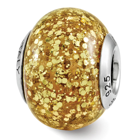 Sterling Silver Reflection Golden Glitter Italian Bead