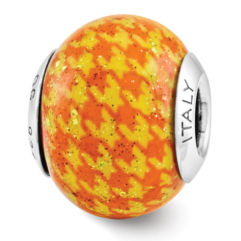 Sterling Silver Reflection Orange Checkered Overlay Italian Bead