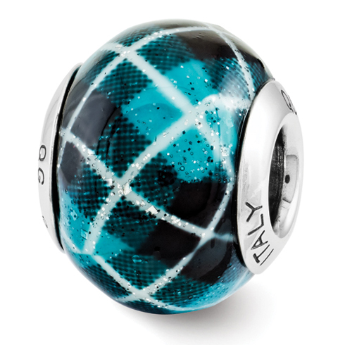Sterling Silver Reflection Teal Plaid Overlay Italian Bead