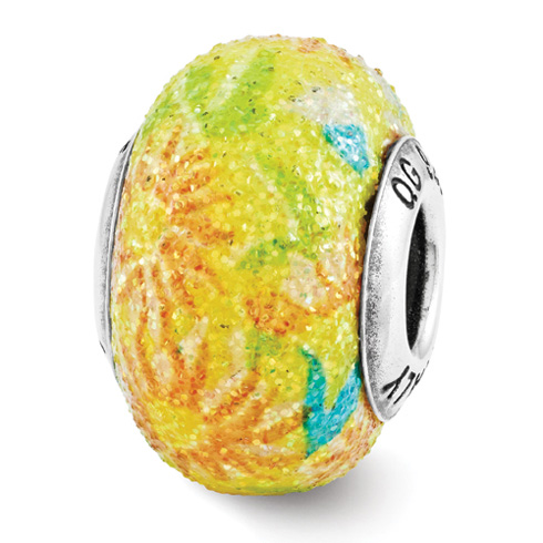 Sterling Silver Reflection Yellow Floral Overlay Italian Bead