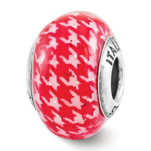 Sterling Silver Reflection Red Checkered Overlay Italian Bead