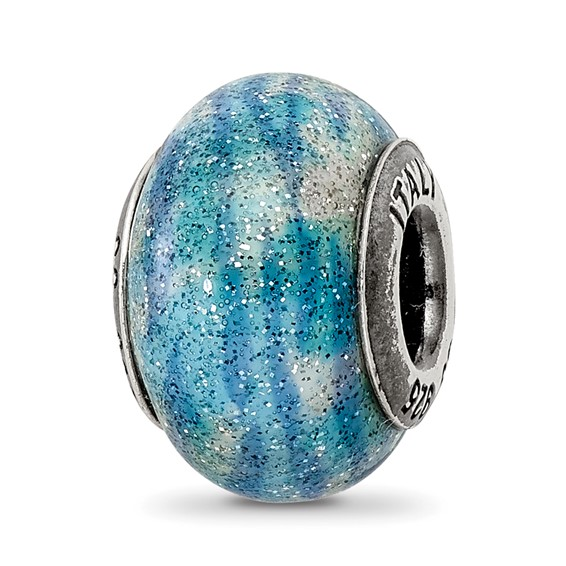Sterling Silver Reflection Blue Glitter Overlay Italian Bead