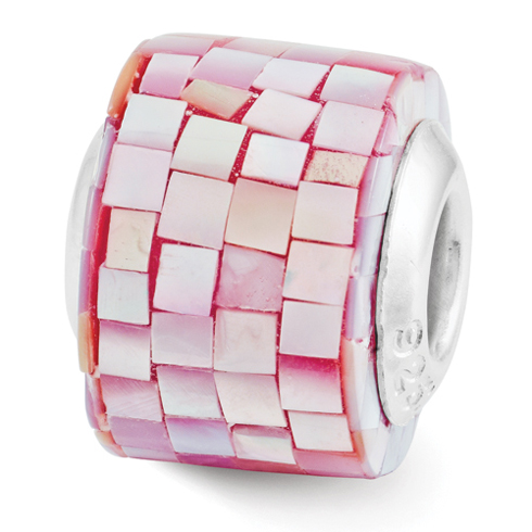 Sterling Silver Reflections Red Mother of Pearl Mosaic Bead