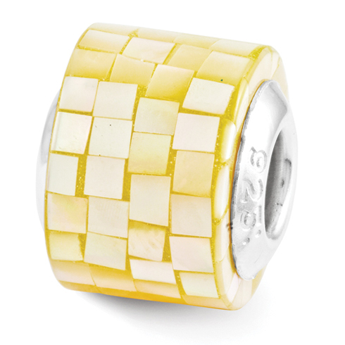 Sterling Silver Reflections Yellow Mother of Pearl Mosaic Bead