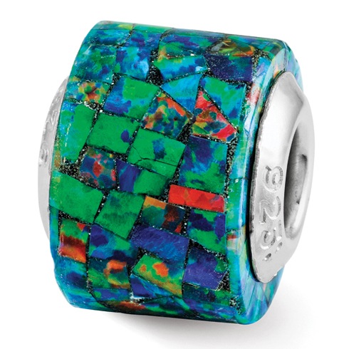 Sterling Silver Reflections Synthetic Opal Mosaic Bead