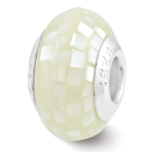 Sterling Silver Reflections Round White Mother of Pearl Mosaic Bead