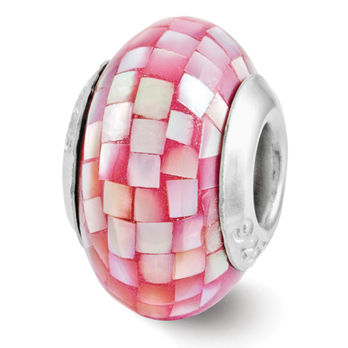 Sterling Silver Reflections Round Pink Mother of Pearl Mosaic Bead