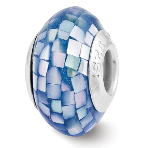Sterling Silver Reflections Round Blue Mother of Pearl Mosaic Bead