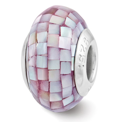 Sterling Silver Reflections Round Purple Mother of Pearl Mosaic Bead