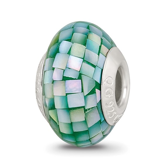 Sterling Silver Reflections Round Green Mother of Pearl Mosaic Bead