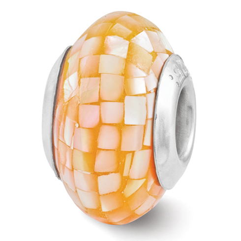 Sterling Silver Round Light Orange Mother of Pearl Mosaic Bead