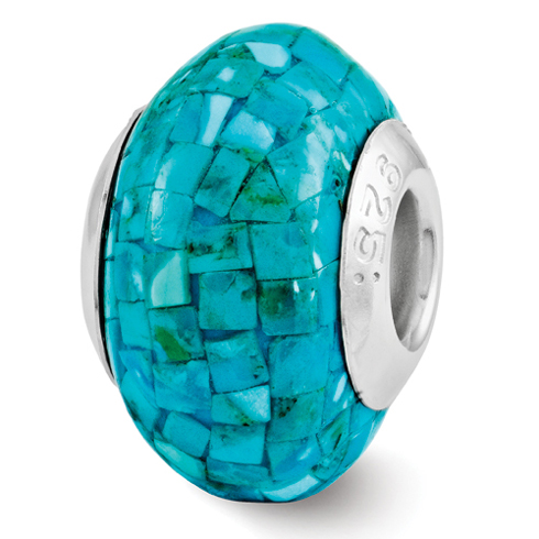 Sterling Silver Reflections Round Turquoise Mosaic Bead