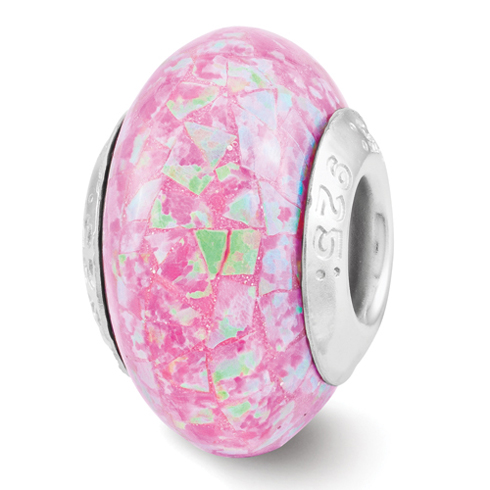 Sterling Silver Reflections Pink Synthetic Opal Mosaic Bead