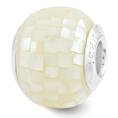 Sterling Silver Reflections Mosaic White Mother of Pearl Bead