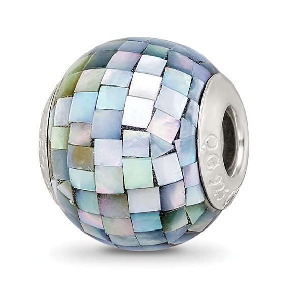 Sterling Silver Reflections Black Mosaic Mother of Pearl Bead