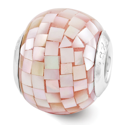 Sterling Silver Reflections Pink Mosaic Mother of Pearl Bead