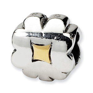 Sterling Silver & 14k Reflections Clover Bead