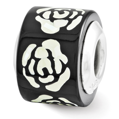 Sterling Silver Black White Mother of Pearl Floral Mosaic Bead