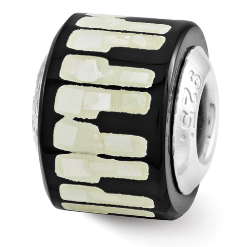 Sterling Silver Reflections Black White Mother of Pearl Mosaic Bead