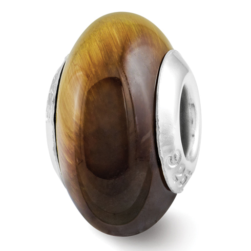 Sterling Silver Reflections Tiger's Eye Bead