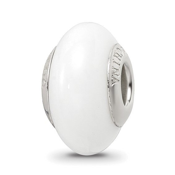 Sterling Silver Reflections White Glass Bead