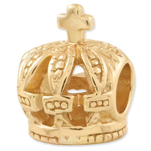 Sterling Silver Gold-plated Reflections Crown Bead