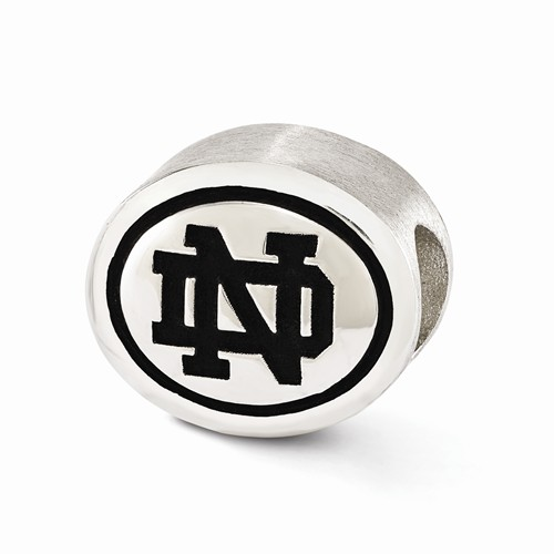 Sterling Silver University of Notre Dame Antiqued Bead