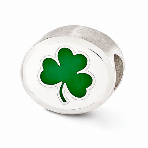 Sterling Silver Enameled University of Notre Dame Clover Bead