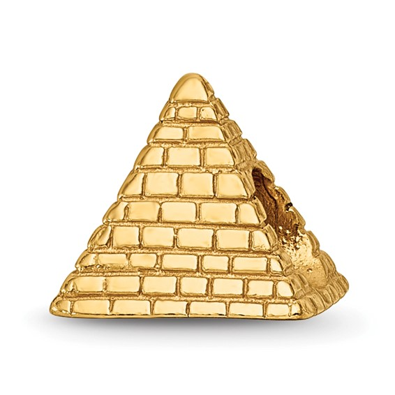 Sterling Silver Gold-plated Reflections Pyramid Bead