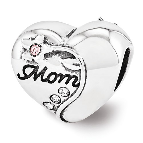 Sterling Silver Reflections Swarovski Mother's Heart Bead
