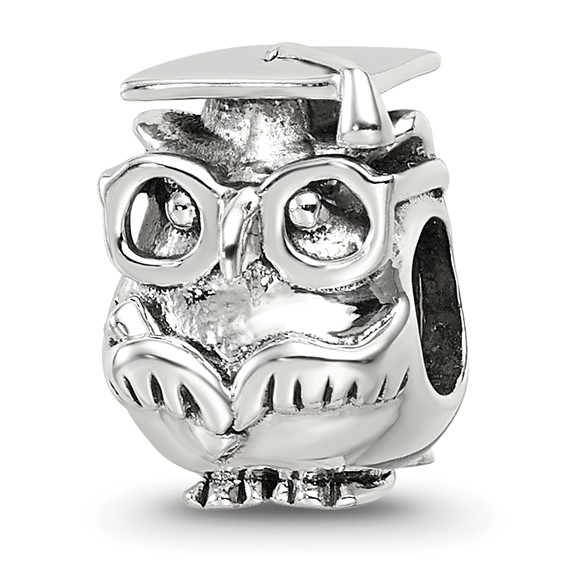 Sterling Silver Graduation Owl Bead