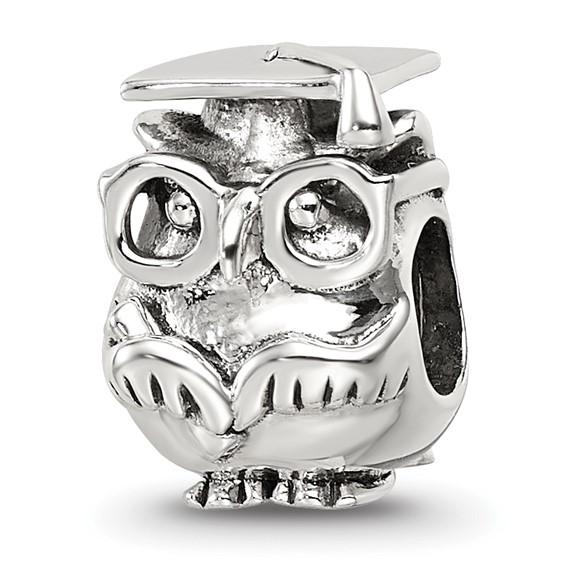 Sterling Silver Graduation Owl Bead