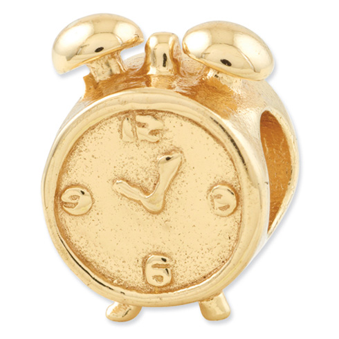 Sterling Silver Gold-plated Reflections Alarm Clock Bead