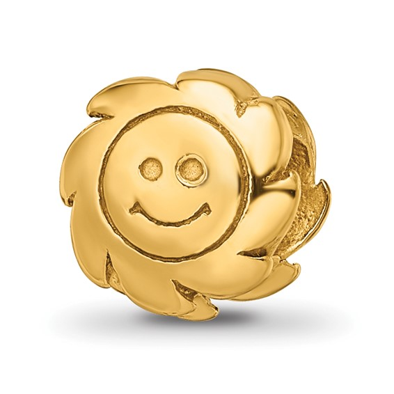 Sterling Silver Gold-plated Reflections Smiling Sun Bead
