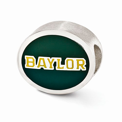 Sterling Silver Enameled Baylor University Bead