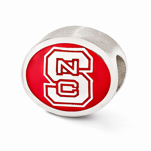 Sterling Silver Enameled North Carolina State University Bead