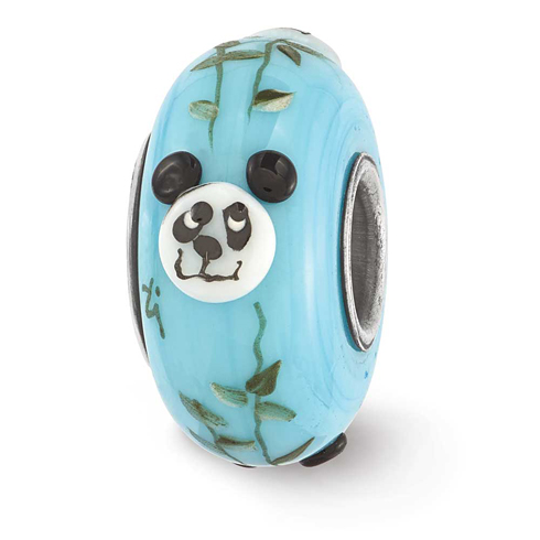 Sterling Silver Reflections Blue Hand Painted Panda Glass Bead