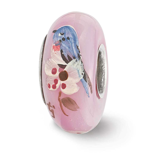 Sterling Silver Reflections Pink Hand Painted Bird Dogwood Glass Bead