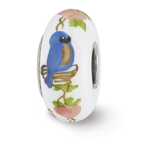Sterling Silver Reflections White Hand Painted Bird Home Glass Bead