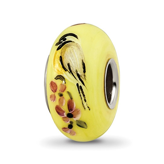Sterling Silver Reflections Yellow Hand Painted Chicadees Glass Bead