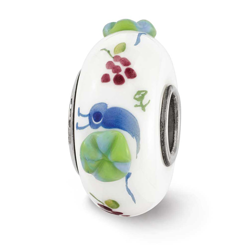 Sterling Silver Reflections Hand Painted Snails and Grapes Glass Bead