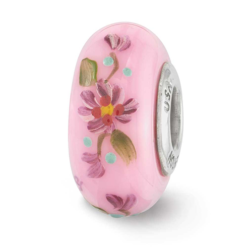 Sterling Silver Reflections Pink Hand Painted Hope Floral Glass Bead